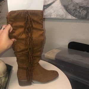 Suede tan mid tall boots
